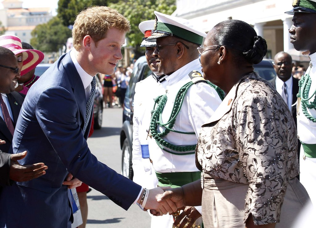 Prince Harry looked good greeting locals in the Bahamas.