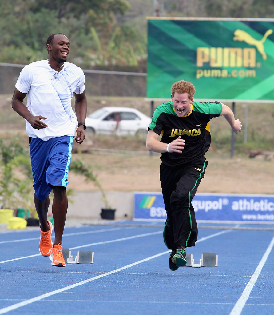 Prince Harry on a track in Jamaica.