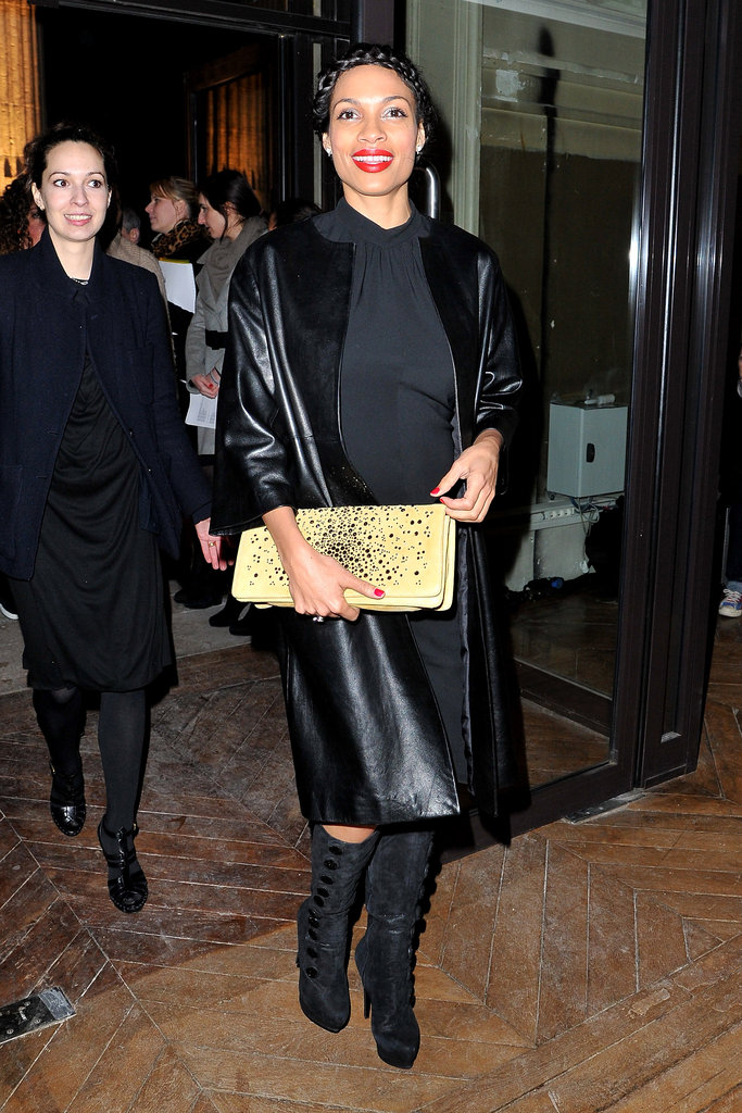 At YSL, Rosario chose to complement her black ensemble with an embellished yellow clutch.