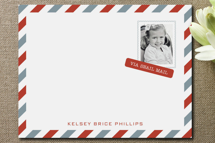 It doesn't get much more one-of-a-kind than Minted's snail mail stationery ($39 for a set of 15). The chic Air Mail-inspired design is perfect for your little jet-setter.