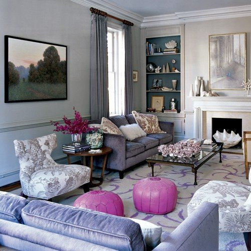 Breaking up a pastel room with pops of bold color is an easy way to make the palette appear less precious. Source