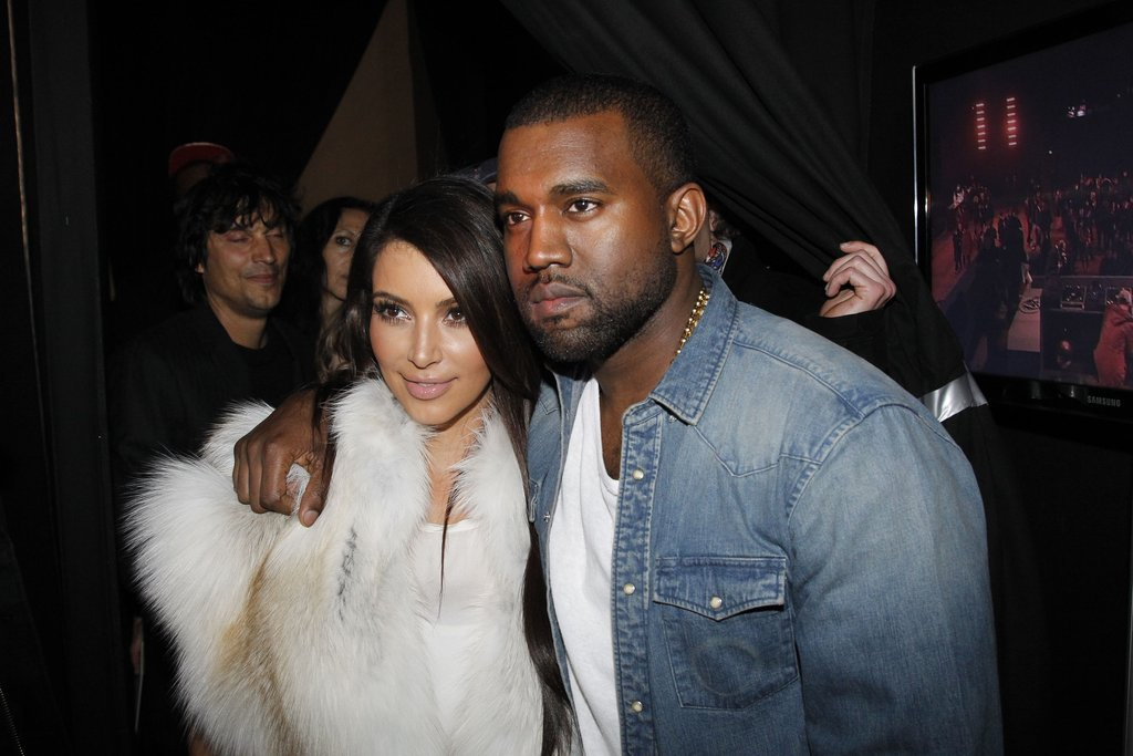 Kim Kardashian said hello to the designer at Kanye West's show.