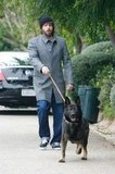 Ben Affleck walking his dog after welcoming baby Samuel.
