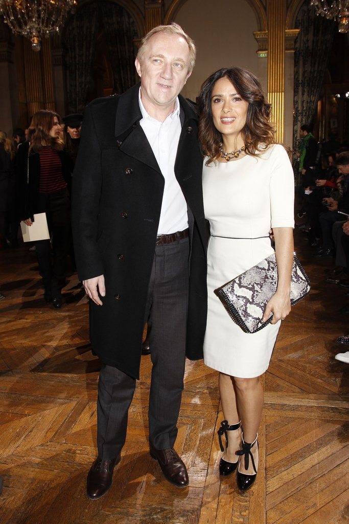 Salma Hayek and Francois-Henri Pinault hugged outside Stella McCartney's show.
