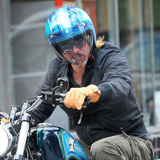 Brad Pitt on Motorcycle in New Orleans Pictures