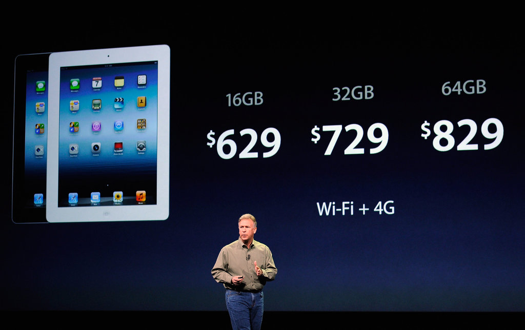 Senior VP of worldwide marketing Phil Schiller explains the pricing of the new iPad.