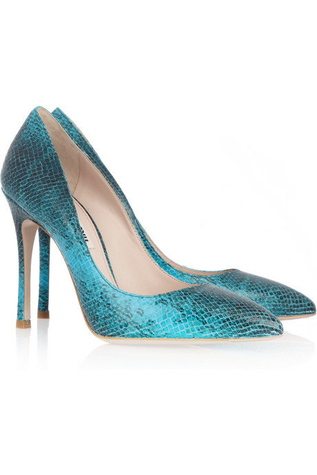 Miu Miu Python-Effect Leather Pumps ($580)