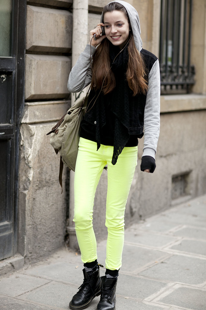 This styler makes a case for the neon jeans trend.