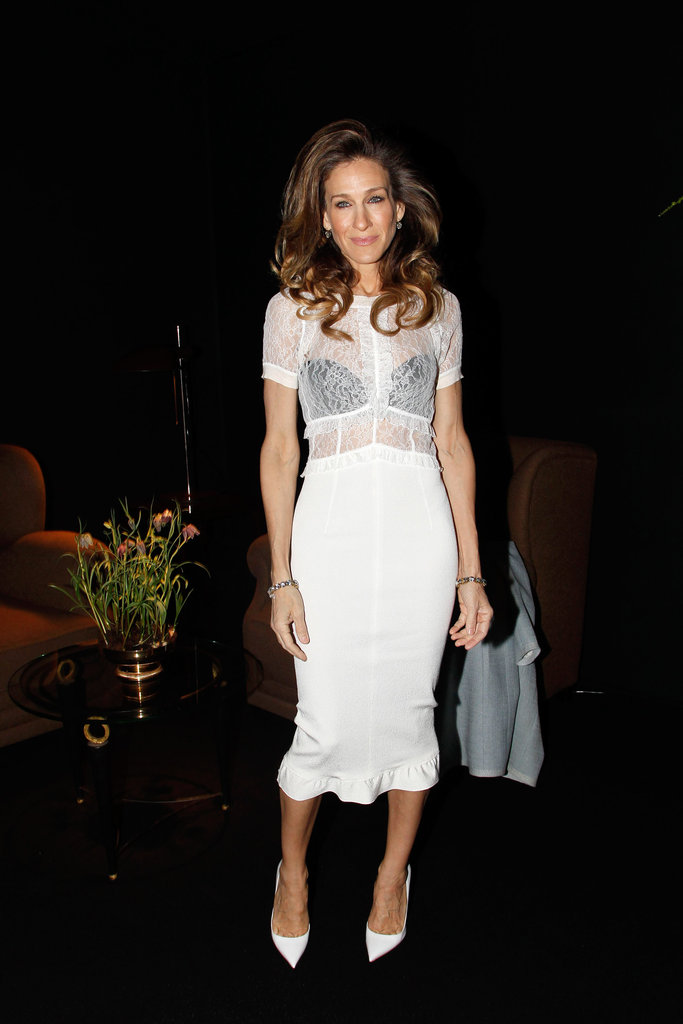 Sarah Jessica lit up the front row of Louis Vuitton in white lace.