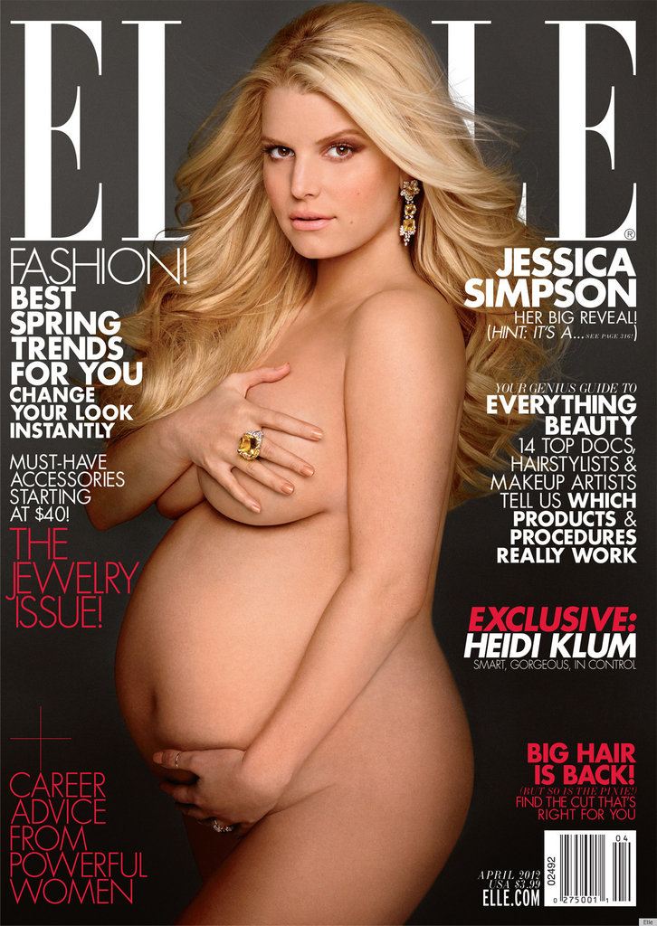Jessica Simpson is the latest celeb to copy Demi Moore's iconic pose — this time on the cover of Elle.