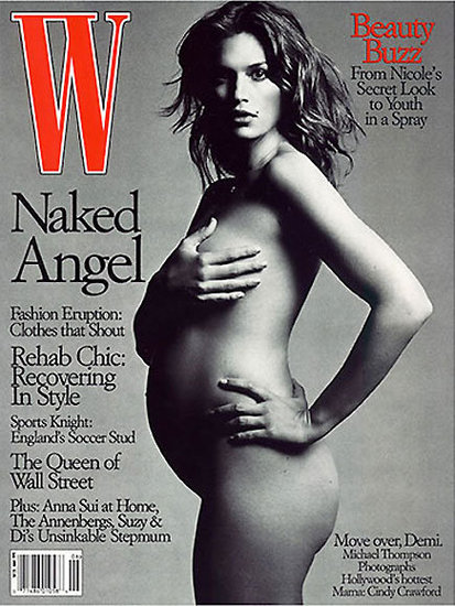 Cindy Crawford went for a black-and-white version of the pose on the cover of W.