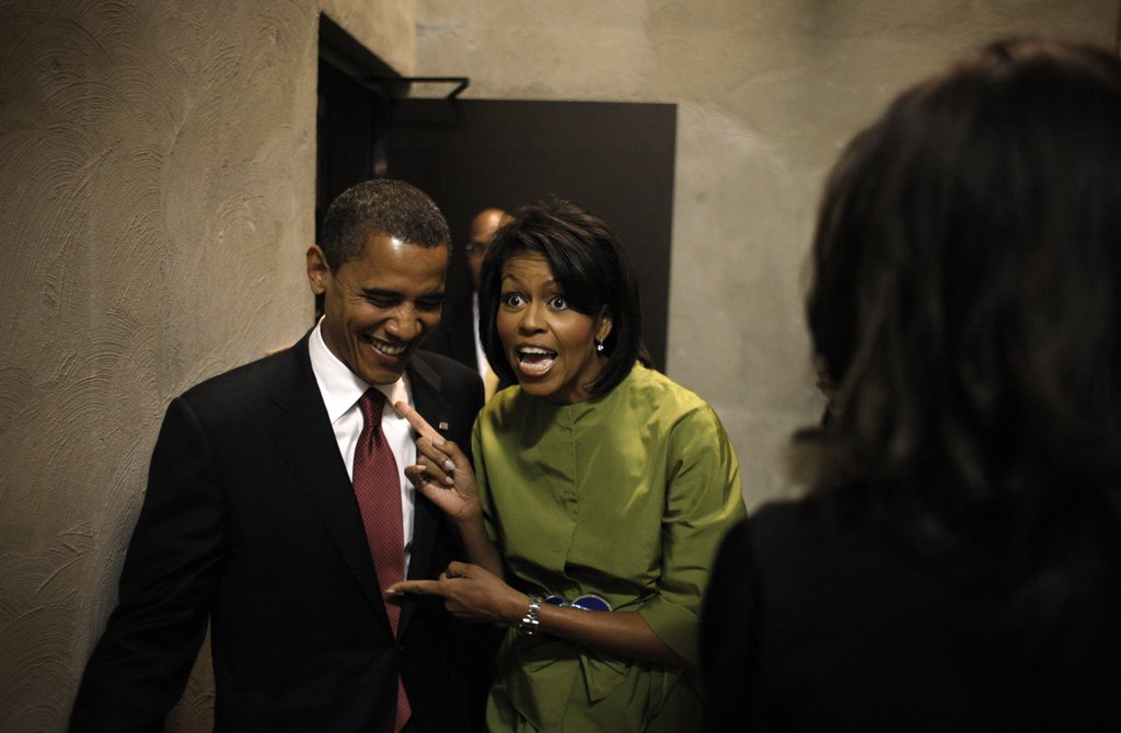 Michelle gets playful with Barack.