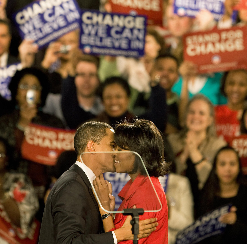 Barack gives Michelle a super kiss on Super Tuesday on March 5, 2008.