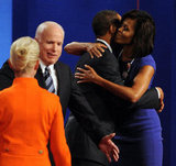 Michelle congratulates Barack after a debate.