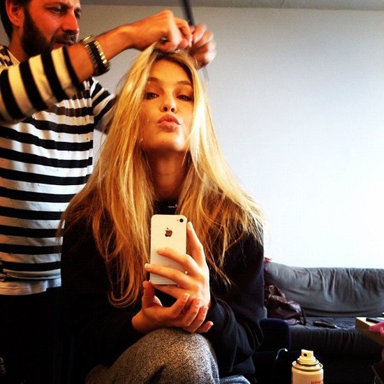 Backstage beauty prep with Bar Refaeli.