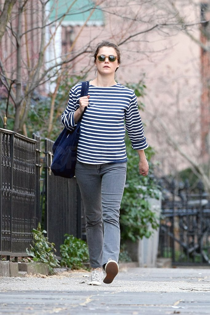 Keri Russell walking through her Brooklyn neighborhood.