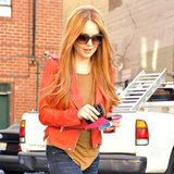 Lindsay Lohan left a salon in Beverly Hills.