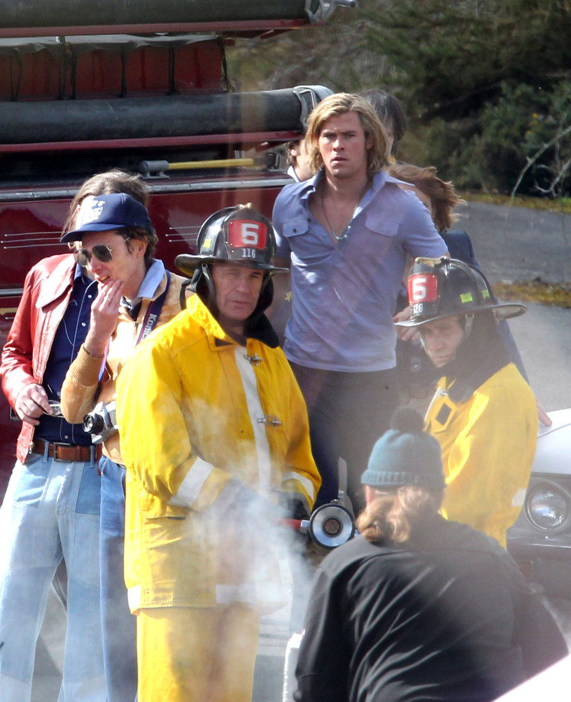 Chris Hemsworth let the firemen on set do their job.