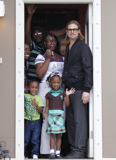 Brad Pitt Checks On the Progress of His Make It Right Foundation