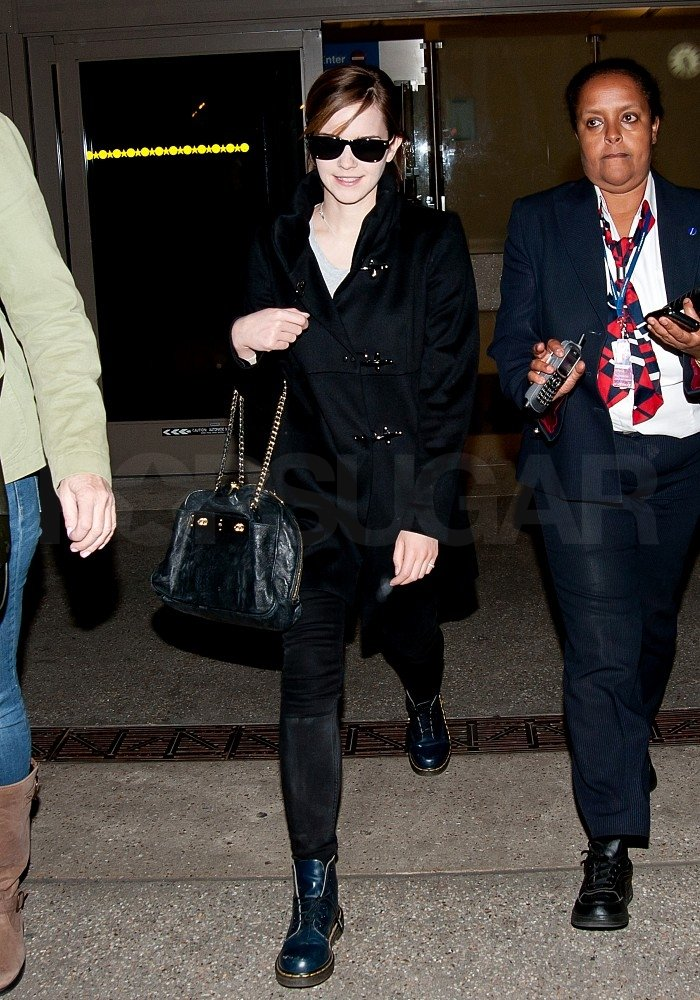 Emma Watson wore all black in LA.