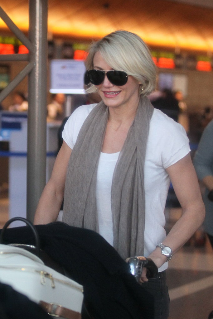 Cameron Diaz returned to LA.