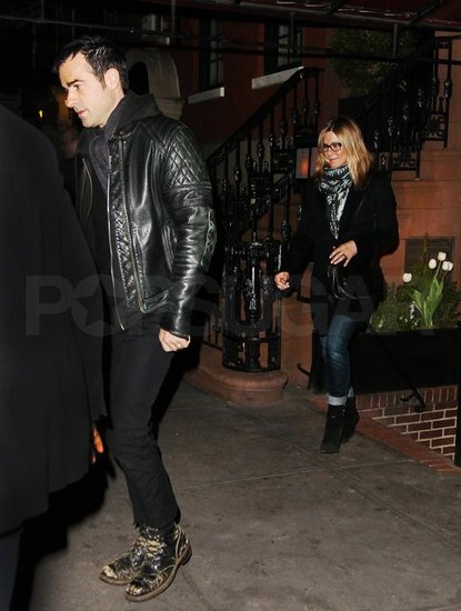 Jennifer Aniston and Justin Theroux stepped out of NYC's Blue Hill Farm.