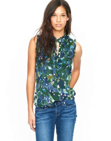 This gorgeous watercolor floral blouse is ideal for pairing with denim skinnies or cropped black trousers for an effortless 9 to 5 outfit.  J.Crew Natasha Top ($98)