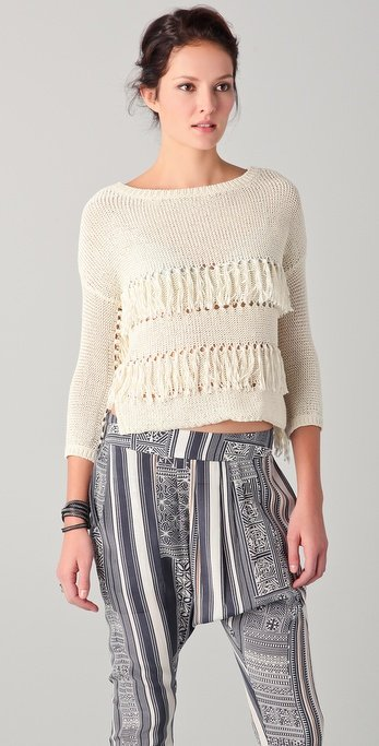 We love the fringed detailing and cool, bohemian quality. Try this with flared denim for a full-on '70s-inspired look.  NSF Phoebe Sweater ($282)