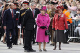 Prince Philip followed the queen during the visit.