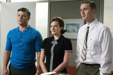 Jay R. Ferugson as Stan Rizzo, Elisabeth Moss as Peggy Olson, and Aaron Stanton as Ken Cosgrove in the season five premiere of Mad Men.  Photo courtesy of AMC