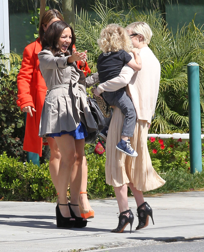 Ashlee Simpson and her son, Bronx, at sister Jessica's baby shower.