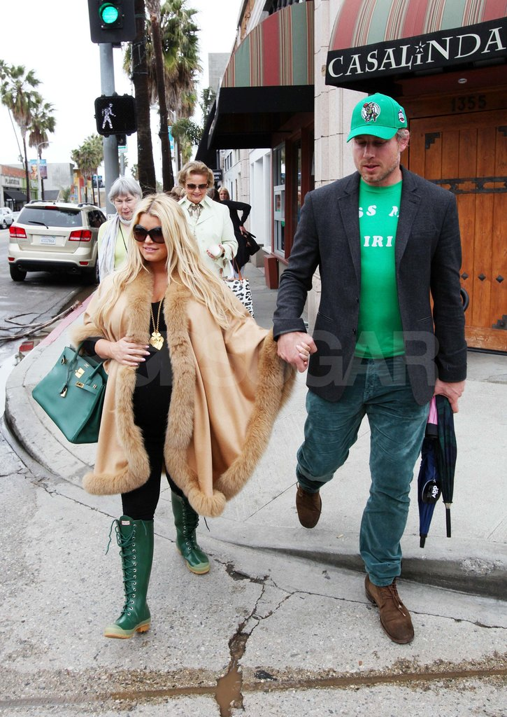 Jessica Simpson and Eric Johnson Brave the Rain to Celebrate St. Patrick's Day in Green