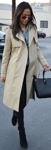 Zoe Saldana Keeps it Classic in a Trench