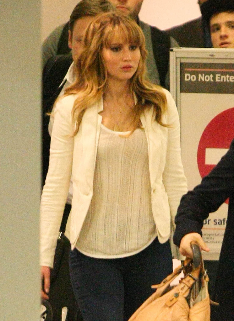 Jennifer Lawrence headed through the terminal.
