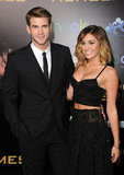 Liam Hemsworth Has Miley Cyrus — and Josh Hutcherson! — By His Side For The Hunger Games Premiere