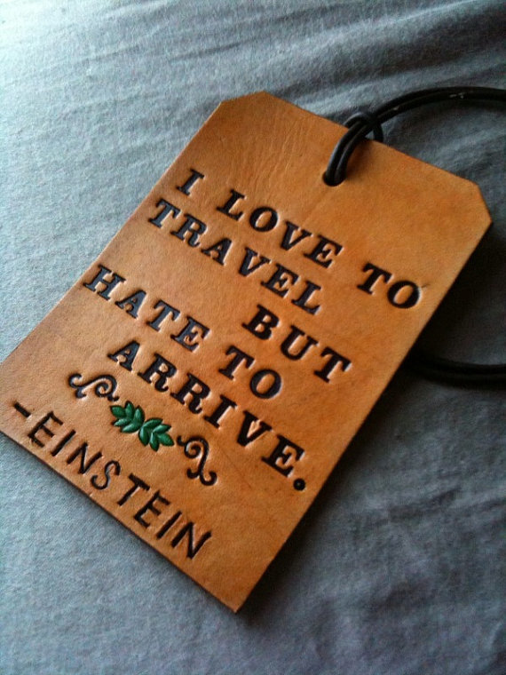 Leather Einstein Luggage Tag ($5)