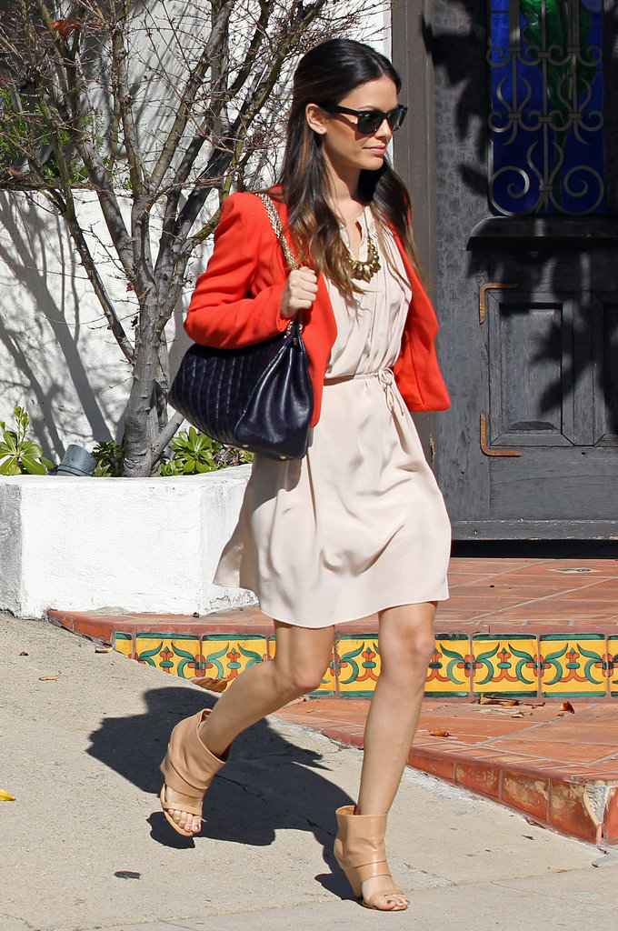 We love that Rachel Bilson's red Vanessa Bruno blazer adds a playful pop of color to her neutral sundress and booties.  4889679