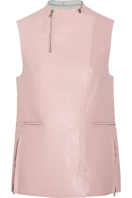 Phillip Lim's Spring collection housed a crew of covetable vests, like this perfect pastel leather version.  3.1 Phillip Lim Leather Biker Vest ($1,200)