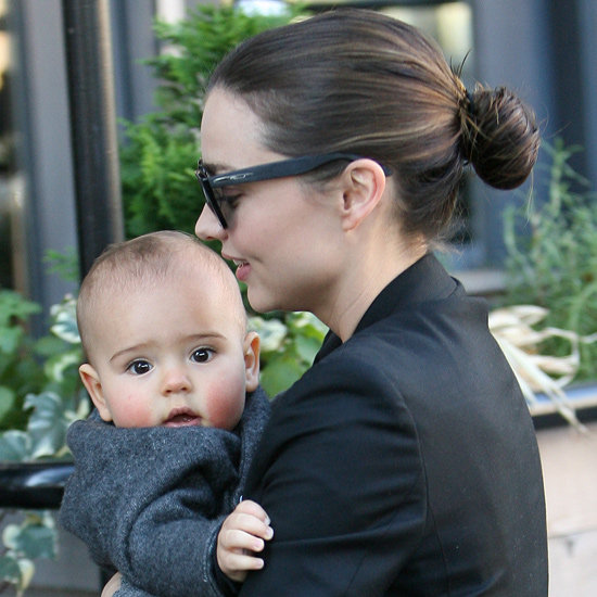 When out with baby Flynn in NYC last last year, Miranda wore her damp hair pulled back into a bun. Not only is it an effortlessly chic style that takes two minutes to do, but it's also great for creating waves and natural texture in the hair for later.