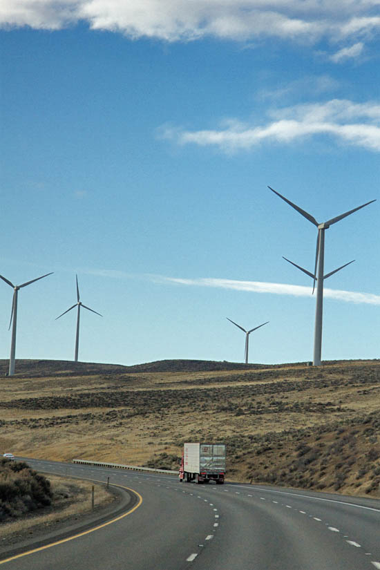 Wind Turbines near Vantage, WA -- they are HUGE compared to the semi truck down there