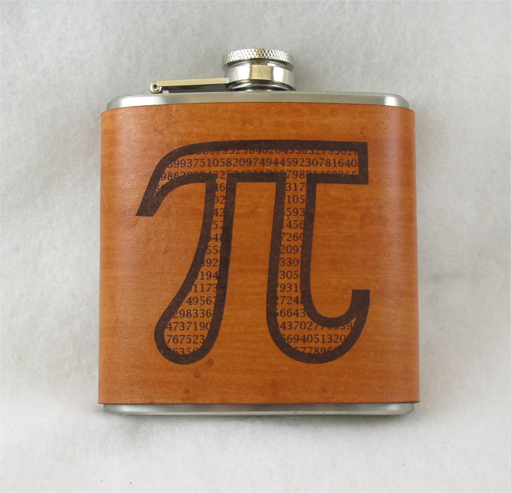 Pi Flask With Engraved Leather Wrap
