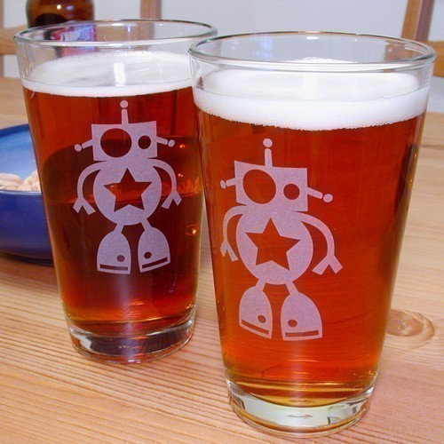 Robot Pint Glasses ($30 for 2)