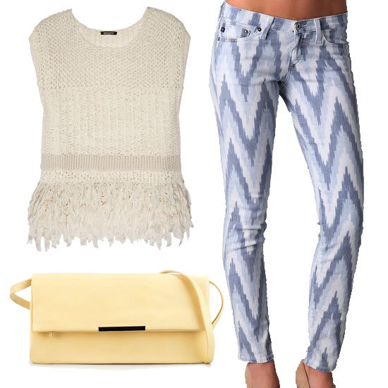 Temper a pair of Ikat printed jeans with feminine accompaniments, like a textured tassel top and a pretty pastel yellow clutch.  DKNY Open-Weave Top ($345), Zara Metallic Clutch ($100), AG Denim Stilt Ikat Jeans ($185)