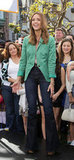 Jessica Alba embraced the trend in a high-waisted pair and a Spring-bright blazer.
