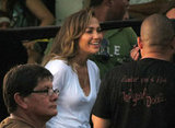 J Lo laughed with her crew on set.
