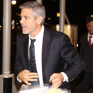 George Clooney Pictures Arriving in DC on Amtrak