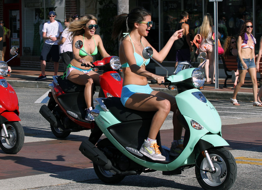 Did you notice Selena Gomez's cross necklace or Vanessa Hudgens's multicolored nails during their Vespa outing in Florida?