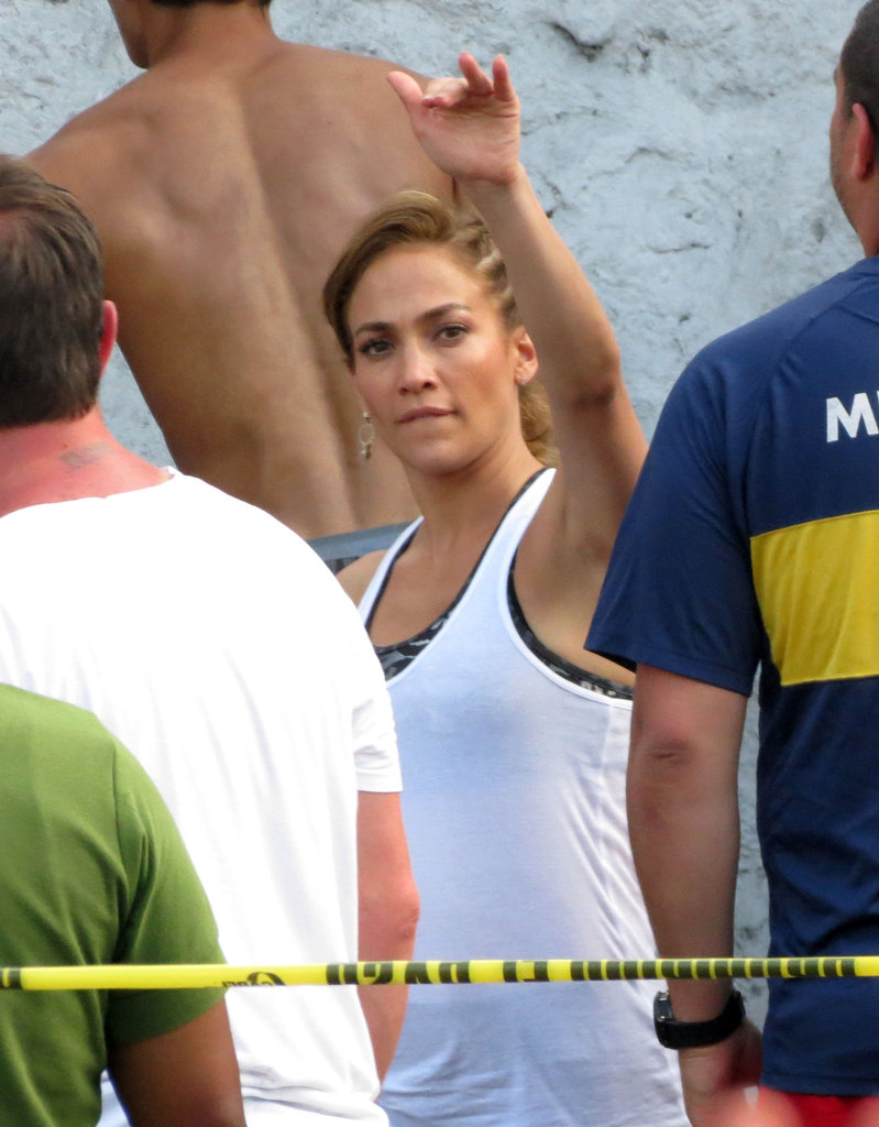 Jennifer Lopez waved to fans.