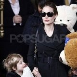 Angelina Jolie leaving her hotel with Shiloh.