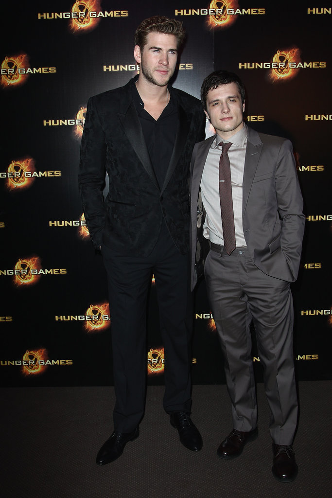 Liam Hemsworth and Josh Hutcherson at The Hunger Games premiere in Paris.